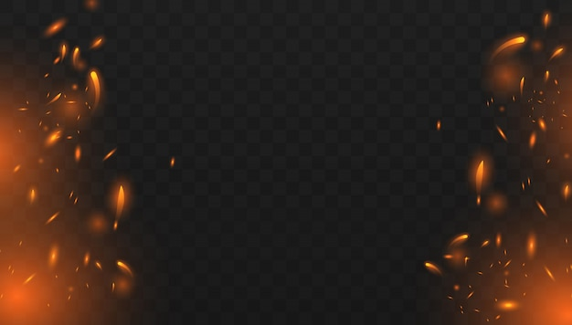 Red fire sparks vector flying up. burning glowing particles. realistic isolated fire