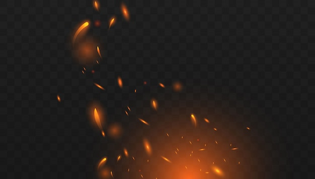 Red fire sparks vector flying up. burning glowing particles.