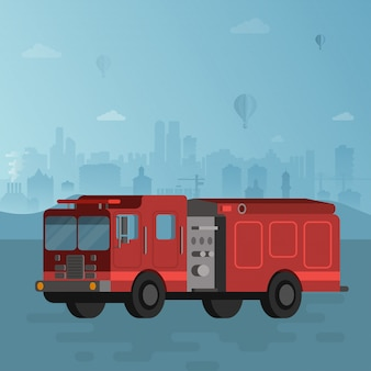 Red fire truck on blue cityscape vector illustration
