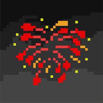 Красный фейерверк в стиле пиксель-арт