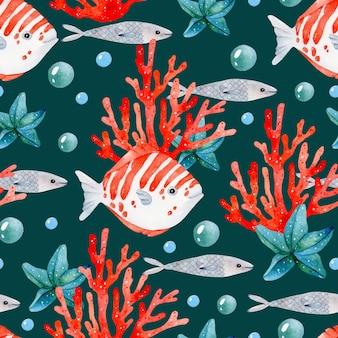 Красная рыба коралловый бесшовный узор на темном фоне