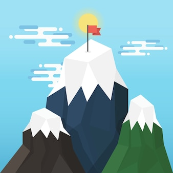 Red flag on a mountain peak in business success concept.