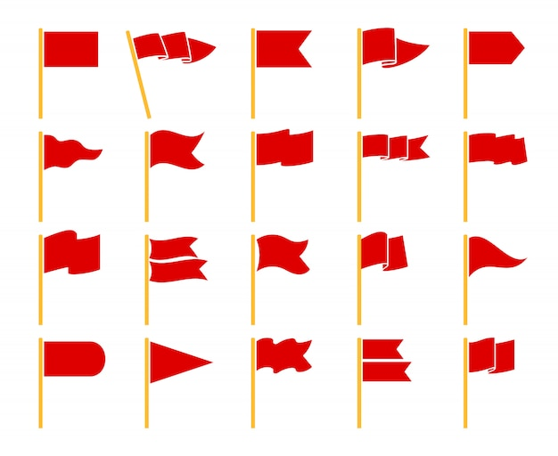 Красные флаги изолированы. флаг установлен на желтые значки посох набор векторных пиктограмм