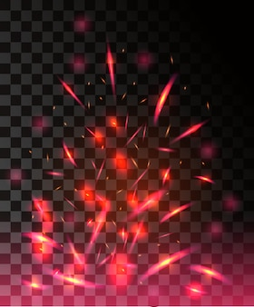 Red flame of fire with sparks flying up glowing particles on dark transparent background