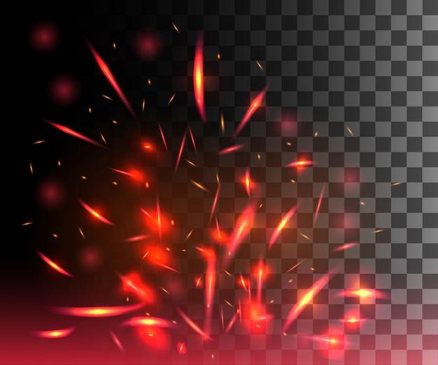 Красное пламя огня с искрами, взлетающими светящимися частицами на темном прозрачном фоне