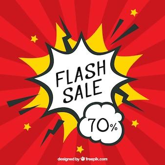 Sfondo rosso vendita flash in stile fumetto