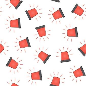 Красный мигалка сирена бесшовные узор на белом фоне. аварийная сирена значок векторные иллюстрации