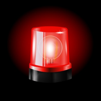 Red flashers siren vector. realistic object. light effect. beacon for police cars ambulance, fire trucks. emergency flashing siren.