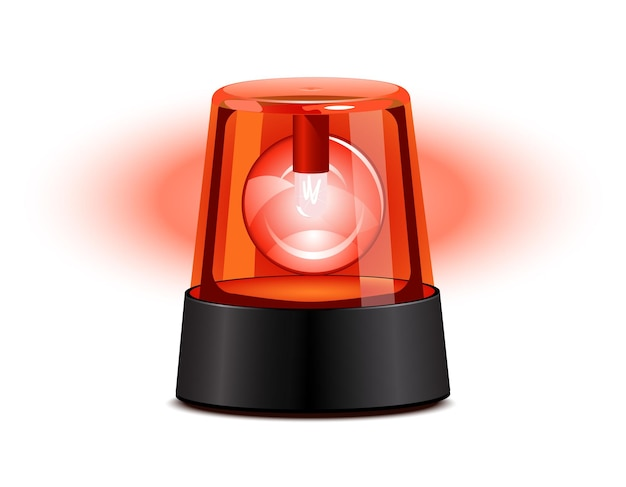 白い背景の上に赤い点滅ライト