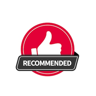Red flat badge recommended with thumb up icon. vector sticker design.