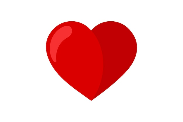 Red flat heart icon. love symbol. vector illustration pictogram