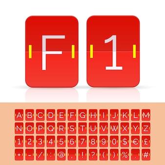 레드 플립 점수 판 알파벳, 숫자 및 기호입니다. 벡터 eps10