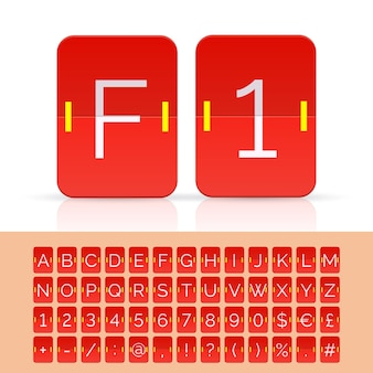 Red flip scoreboard alphabet, numbers and simbols. vector eps10