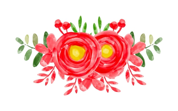 水彩で赤いフラワーアレンジメント