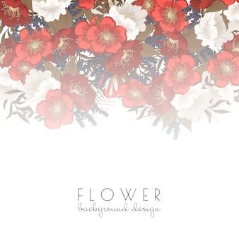 Red floral background flower border