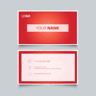 Red floral business card design