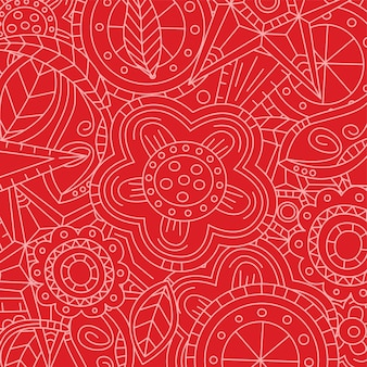 Red floral flower pattern doodle