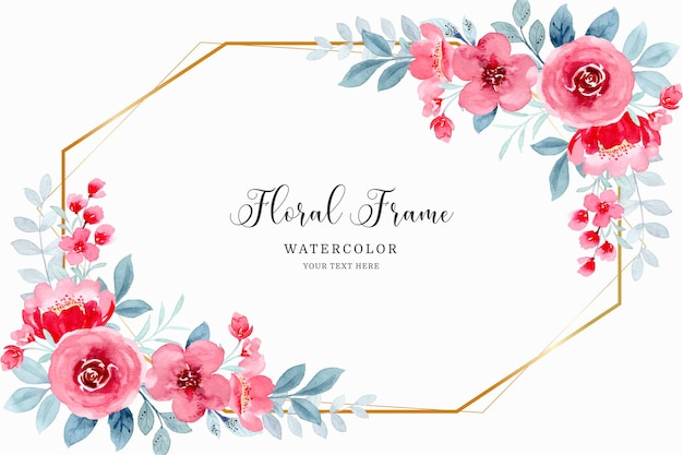 Red floral frame background with watercolor