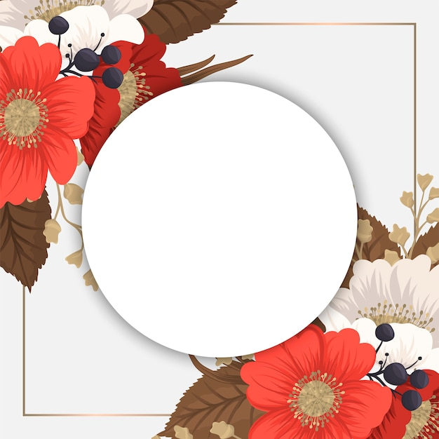 Red floral frame - red and white circle flowers