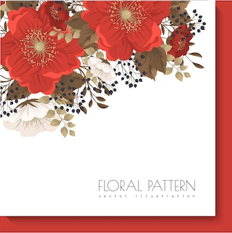 Red floral frame  red and white flowers