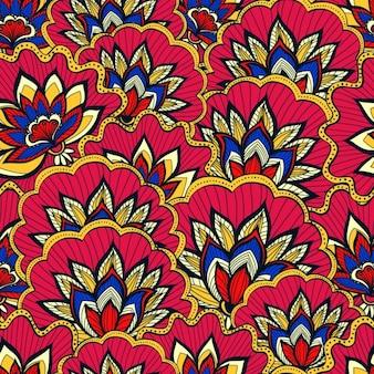 Весенний узор с красочными цветами handdrawn