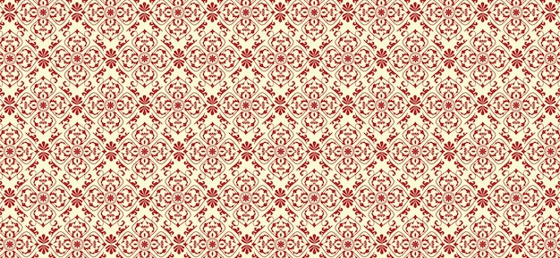 Red floral pattern in classical style vector background