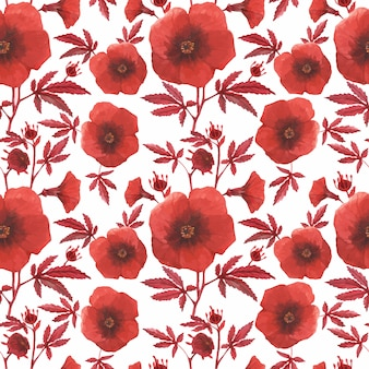 Red floral seamless pattern hybiscus