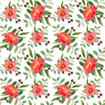赤い花の水彩画のシームレスなパターン