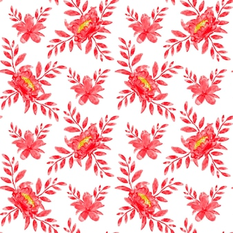 Red floral watercolor seamless pattern