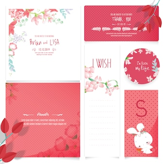 Red floral wedding card in watercolor style.