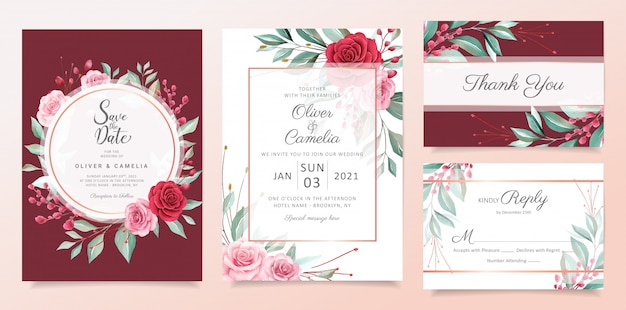 Red floral wedding invitation card template set with watercolor flowers arrangements