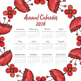 붉은 꽃 화환 달력 2018