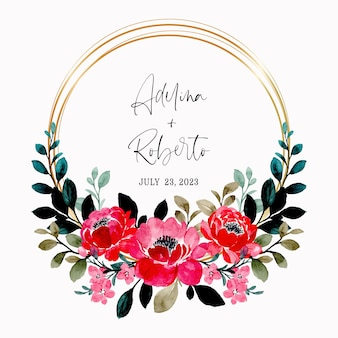 Red floral wreath watercolor with golden frame