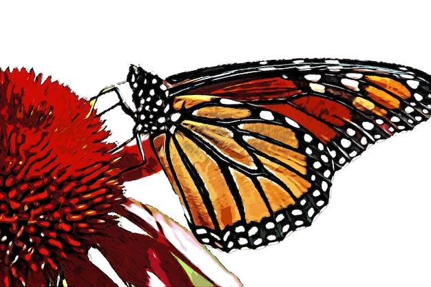 붉은 꽃과 화려한 나비 수채화