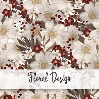 Red flower background seamless pattern