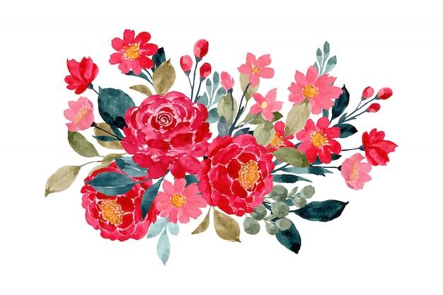 수채화와 붉은 꽃 꽃다발