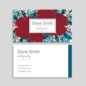 Red flower business cards template