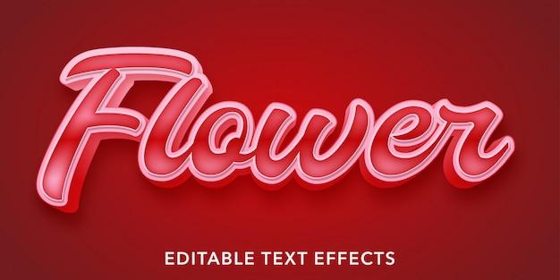赤い花の編集可能なテキストスタイルの効果