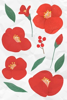 Red flower element set on a crumpled white paper background