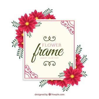 Red flower frame background