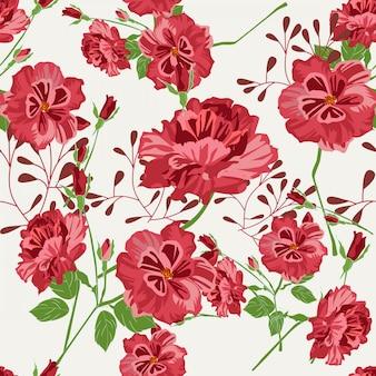 赤い花のシームレスパターン