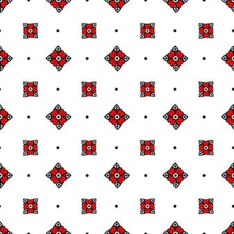 붉은 꽃 스타일 올드 스쿨 문신 완벽 한 패턴입니다. 벡터 일러스트 레이 션