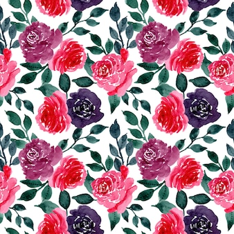 Red flower watercolor seamless pattern