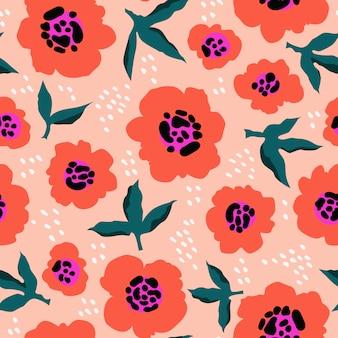 赤い花の抽象的なパターン。トレンディな手描き花柄。 web、繊維、文房具のシームレスなテクスチャです。モダンな活気に満ちた抽象的な花柄と葉。