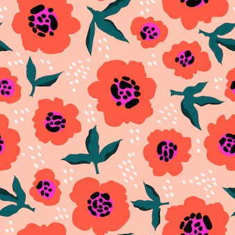 Red flowers abstract pattern. trendy hand-drawn  floral pattern . seamless texture for web, textile and stationery. modern vibrant abstract florals and leaves.