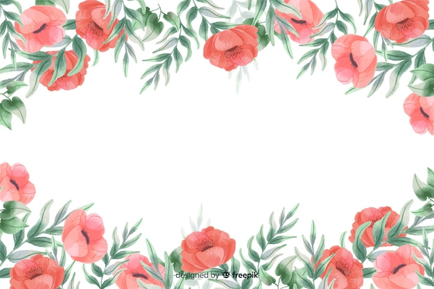Red flowers frame background with watercolor design