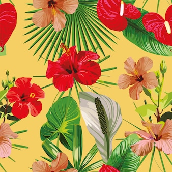 Red flowers leaves yellow seamless pattern