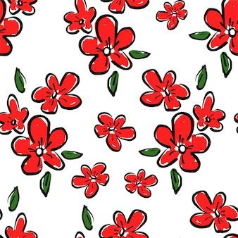 붉은 꽃 원활한 패턴 손으로 그린 아름다운 디자인 인쇄 배경 섬유 및 직물 장식 벡터 일러스트 레이 션