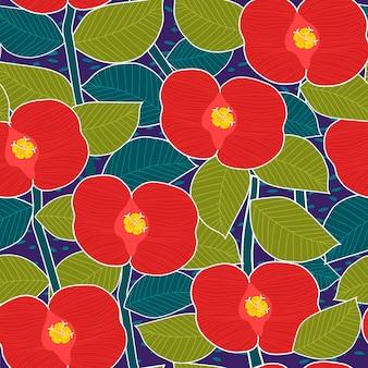 Бесшовный узор из красных цветов на синем фоне