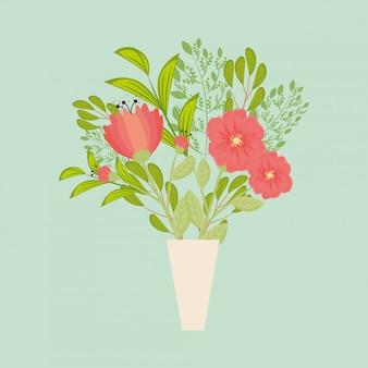 花瓶の中の葉と赤い花
